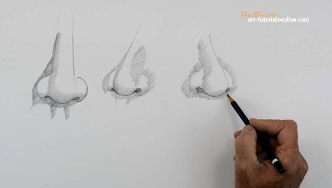 How to draw a nose simply