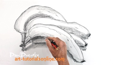 Drawing bananas with two pencils