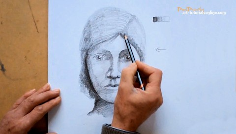 Draw a face with light and shade
