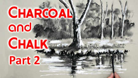 How to draw with charcoal and chalk - landscape